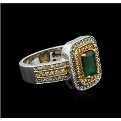 14KT Two-Tone Gold 0.84 ctw Emerald and Diamond Ring