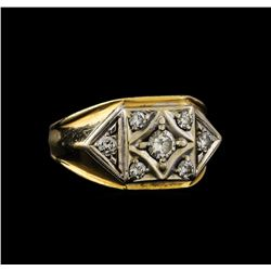 0.61 ctw Diamond Ring - 14KT White and Yellow Gold