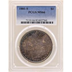 1881-S $1 Morgan Silver Dollar Coin PCGS MS66 Great Toning