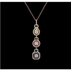 1.28 ctw Diamond Pendant With Chain - 14KT Tri Color Gold