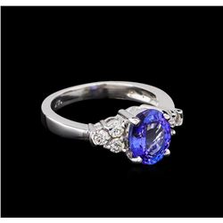 2.06 ctw Tanzanite and Diamond Ring - 14KT White Gold