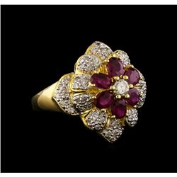 1.35 ctw Ruby and Diamond Ring - 18KT Yellow Gold