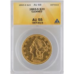 1865-S $20 Liberty Head Double Eagle Gold Coin ANACS MS55