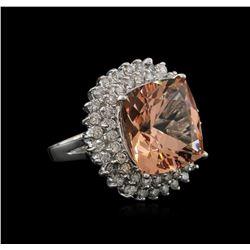 13.86 ctw Morganite and Diamond Ring - 14KT White Gold