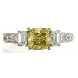2.01 ctw Fancy Yellow Diamond Ring - 18KT Two-Tone Gold