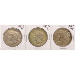 Lot of (3) 1923-S $1 Peace Silver Dollar Coins