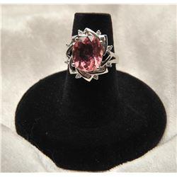 19RPS-20 PINK TOURMALINE  DIAMOND RING