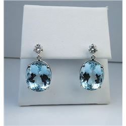 19CAI-11 AQUAMARINE  DIAMOND EARRINGS
