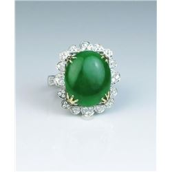 19CAI-13 APPLE GREEN JADE  DIAMOND RING
