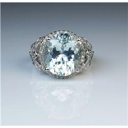 19CAI-6 AQUAMARINE  DIAMOND RING