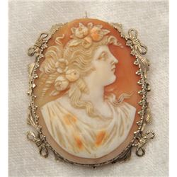 19RPS-8 ANTIQUE SHELL CAMEO BROOCH/PENDANT