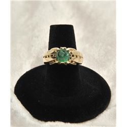 19RPS-9 CARVED EMERALD CABACHON RING