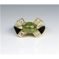 19CAI-40 CHRYSOBERYL CATS EYE  DIAMOND RING