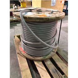 Spool of unused 18 AWG armoured electrical cable 100 metres