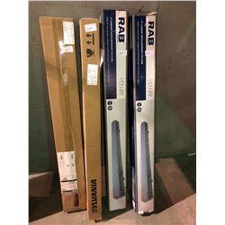 2 - RAB - 4' Linear vapourproof 60 watt LED light fixtures 4 foot unused plus 2 full boxes t-5 LED 4