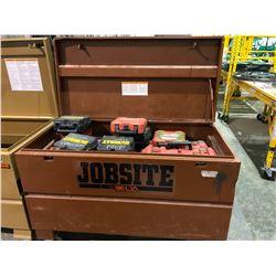 Jobsite mobile locking toolbox with numerous empty Milwaukee & Dewalt tool cases