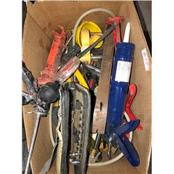 Pallet of numerous tools including Bosch Hammer Drill, Holt tool box with tools, clamps, jacks, adju