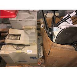 Pallet of HP Laserjet printers, 4050 office system printer, Laserclass 7000 printer, scanner, desk l