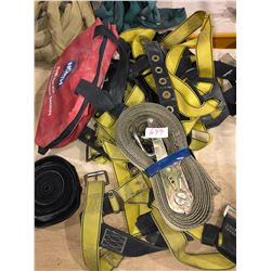 Various yellow/black safety harnesses, first aid kit, Kinedyne tie down straps