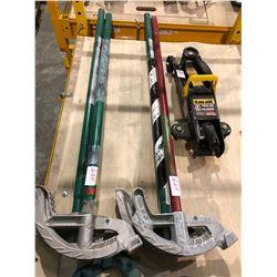 4 Greenlee pipe benders & 1.5 ton trolley jack