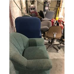 12 various office chairs & tub chair