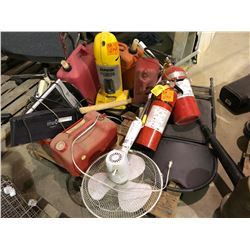 Eureka bagless vacuum, 2 unused commercial fire extinguishers, numerous jerry cans, large fan