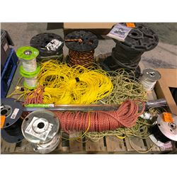 100s of feet of tugger/wire pulling rope, various rolls of wire, 4 rolls various sizes of rope
