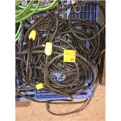Large lot of black extension cords, commercial extension cords plus connectors