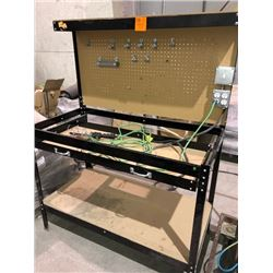 Work bench with plug ins, extension cord trouble light