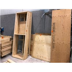 Huge amount of wood from large shelving unit plus plywood, ????, shelves, sheets of ply