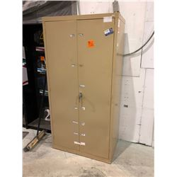 2 door metal locking cabinet with shelves