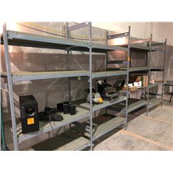 4 sections of commercial grey shelving HD, perfect for shops, app 30ft