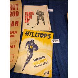 Saskatoon Hilltops programs from 1952, 1958, Saskatoon's first hotrod show 1961, Johnny Cash Photo,