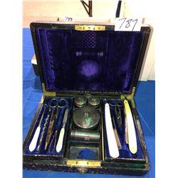 Royal Manicure & shave set, ivory handle