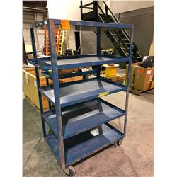 1000 lb capacity Kleton mobile 5 shelf blue work cart