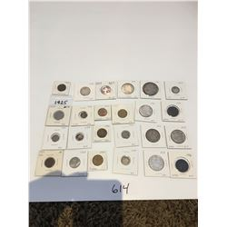24 antique Canadian coins, various years & denominations