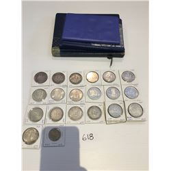 24 Canadian silver dollar coins 1935 to 1967