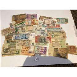 Various paper currency from around the world, Spain, Australia, Mexico, Germany, Peru, Nigeria