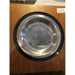 University of Manitoba Centennial plate, limited edition solid sterling silver #579