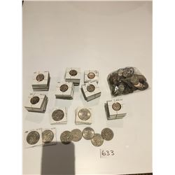 USA dollars & quarters from 1960s & 70s, approx 27 one dollar coins & 210 quarters