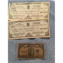 1945 Dominion of Canada War Savings Certificates and 25 cent paper bill 1923