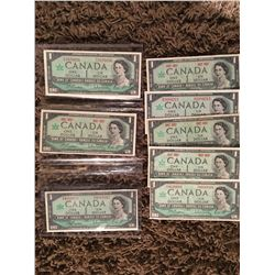 Eight 1967 Canada Centennial one dollar bills