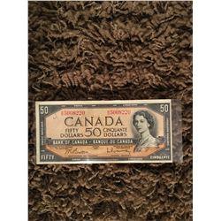 Canadian fifty dollar bill 1954