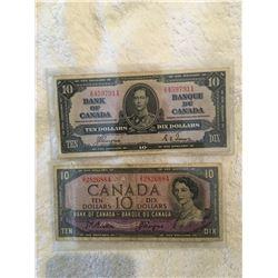 Two Canadian ten dollar bills 1954, 1937