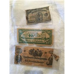 Three interesting antique currency, Canada 25 cent bill, Diefenbaker dollar, Confederate states 100