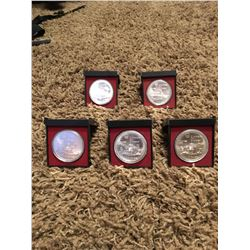 five - 10 dollar collector coins from the Montreal 1976 Olympics