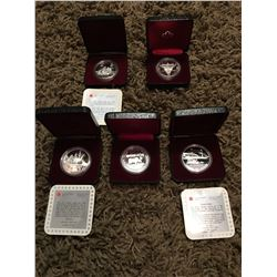 Five collector coins from Royal Canadian Mint