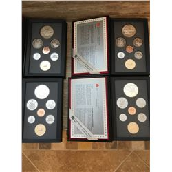 Four Canadian coin proof sets from Royal Canadian Mint 1989, 1990, 1991, 1992