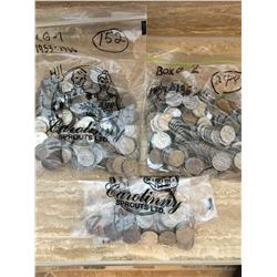 Approx 450 Canadian Nickels from 1920s to 1960s