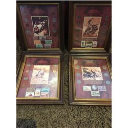 Set of four framed coin & stamp collections, commemorating notable history of the USA West